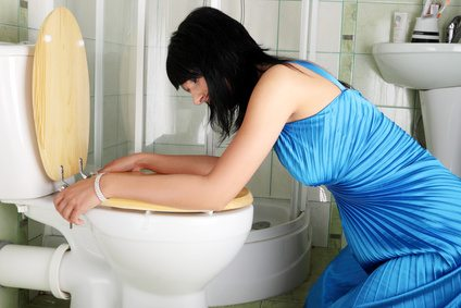 Young caucasian woman in toilet