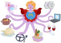 A Vector Illustration of an octopus mother dressed as a superhero and doing actions such as lifting weights, working on a laptop, having drinks, shopping for grocery, driving, cleaning, cooking and taking care of her baby.